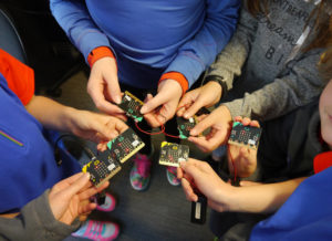 Guides experimenting with Microbits at Uni of Suffolk 1